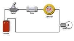 كيفية توصيل الاميتر بالدارة لقياس التيار الكهربائي