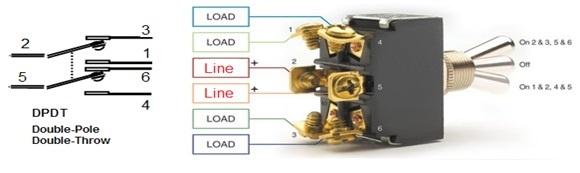 المفتاح ثنائي القطبية - ثنائي التحويلة - DPDT Switch