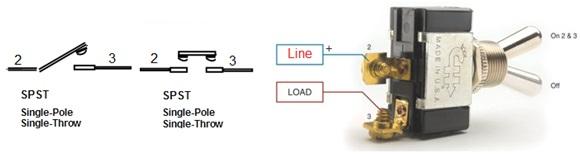 المفتاح أحادي القطبية - أحادي المخرج أو التحويلة - SPST switch
